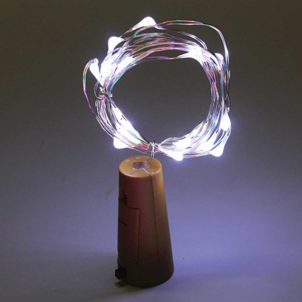 2-pack LED Ljusslinga Lampor Belysning för Flaskor Dekoration vit