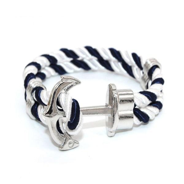 Trendigt Armband Rep med Ankare i Metall Blå/Vit/Silver silver