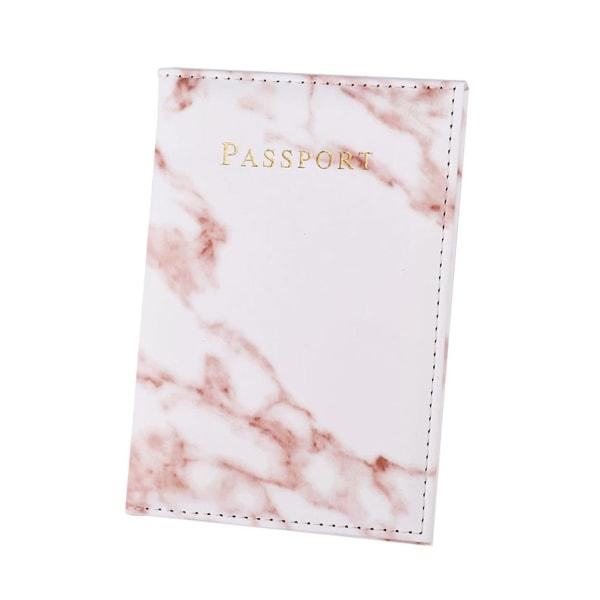 Passfodral Passhållare Rosa Marmor Skinn Läder Guld vit