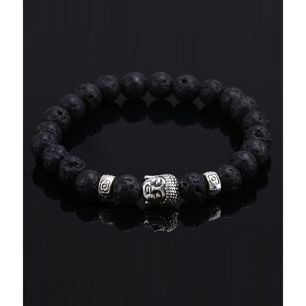 Trendigt Karma Armband Buddha Silver Svarta Lavastenar silver