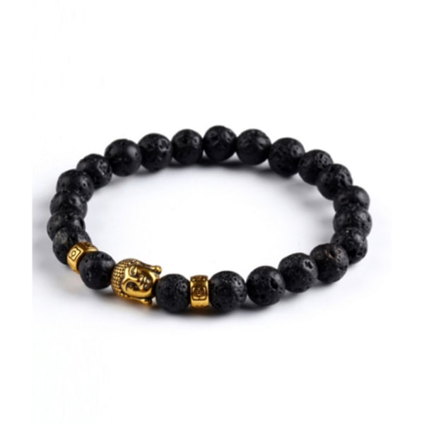 Trendigt Karma Armband Buddha Guld Svarta Lavastenar guld