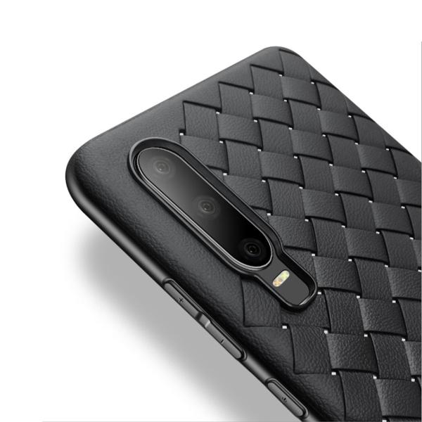 Huawei P30 Mobilskal Flätat Svart Läder Skinn svart