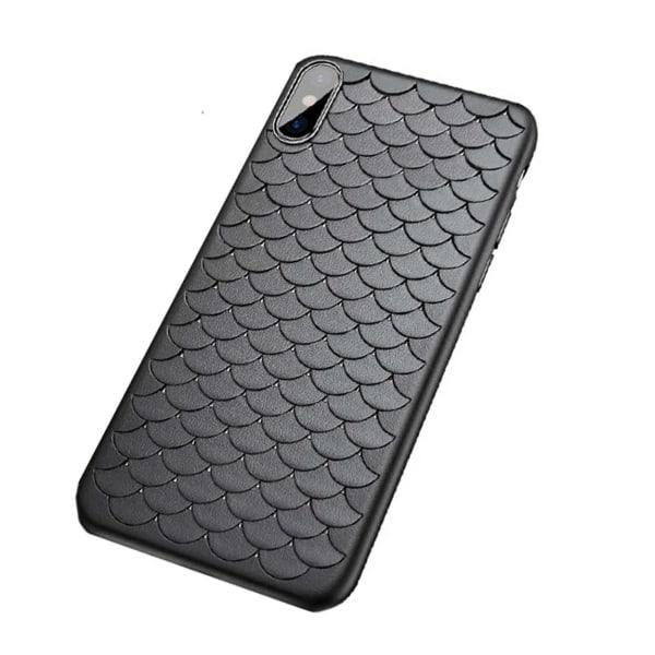 iPhone XS Mobilskal Flätat Svart Läder Skinn svart