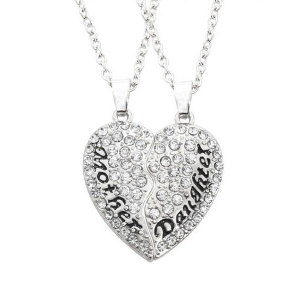 Tvådelat Mor och Dotter Halsband Brythjärta Silver silver