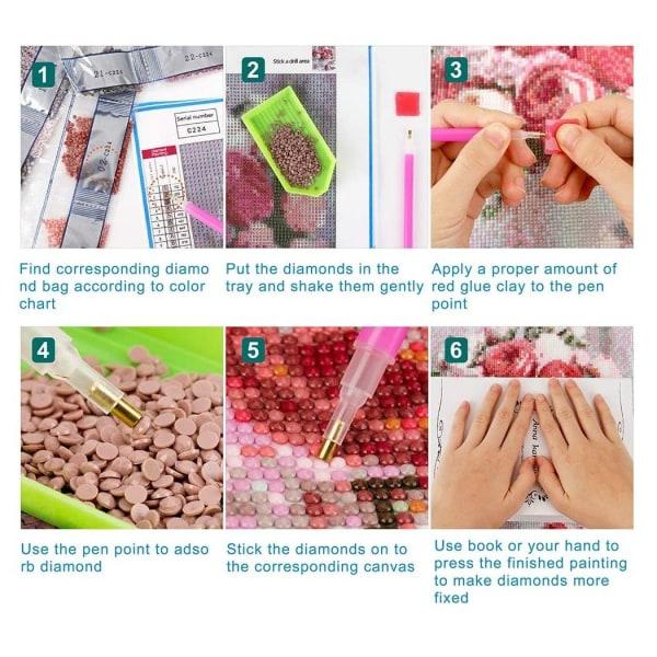 Full 5D DIY Diamond Målning Korsstygn Ljusblå Rosor Broderi Mosa Som på bilden 1