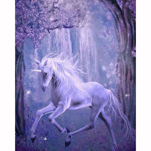 Full 5D DIY Diamond Målning Korsstygn Vit Unicorn Broderi Mosaic Som på bilden 1