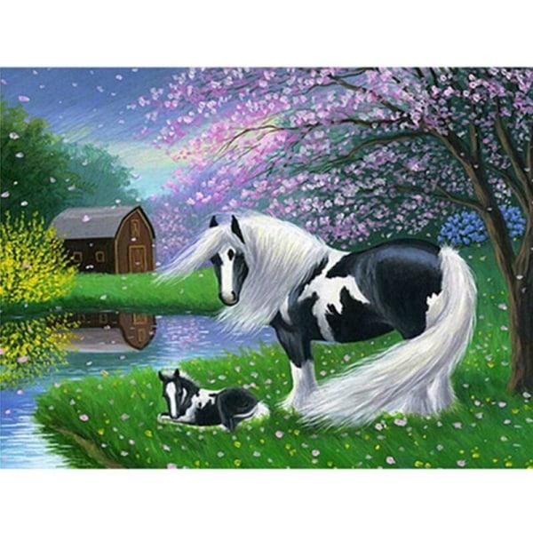 Full 5D DIY Diamond Painting Cross Stitch Black and White Horse  Som på bilden 1