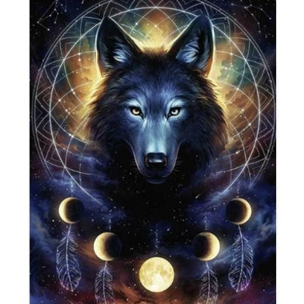 Full 5D DIY Diamond Painting Cross Stitch Black Wolf Brodery Mos Som på bilden 1