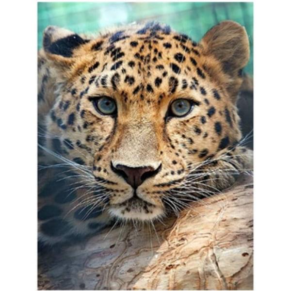 Full 5D DIY Diamond Painting Cross Stitch Boring Leopard Broderi Som på bilden 1