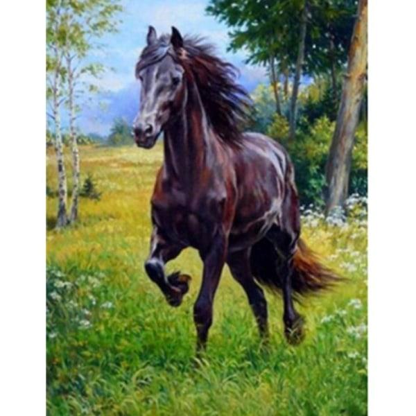 Full 5D DIY Diamond Painting Cross Stitch Brown Horse Broderi Mo Som på bilden 1