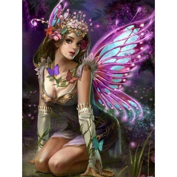 Full 5D DIY Diamond Painting Cross Stitch Butterfly Elf Mosaic B Som på bilden 1