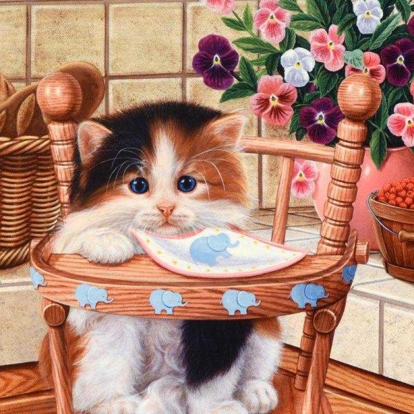 Full 5D DIY Diamond Painting Cross Stitch Cat Baby Rhinestones B Som på bilden 1