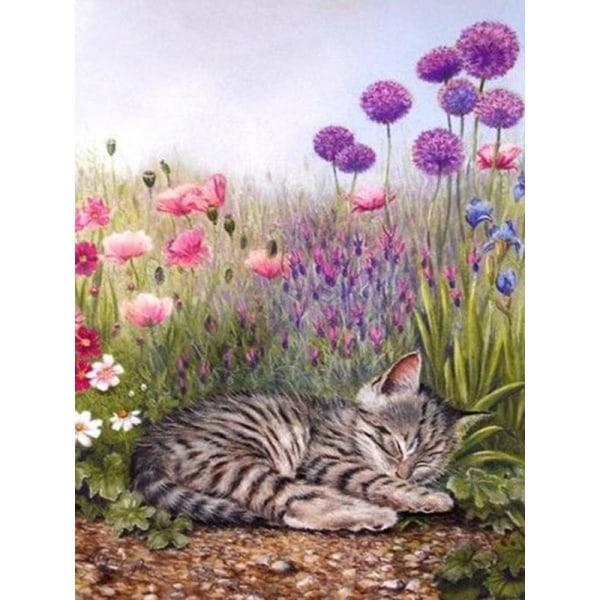 Full 5D DIY Diamond Painting Cross Stitch Cat Cartoon Rhinestone Som på bilden 1
