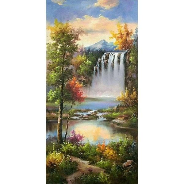 Full 5D DIY Diamond Painting Cross Stitch Forest Waterfall Visa  Som på bilden 1