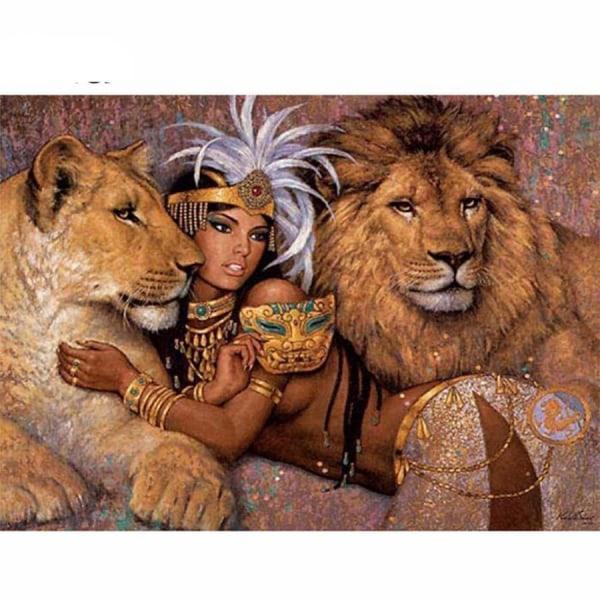 Full 5D DIY Diamond Painting Cross Stitch Lion Pet for Girl Rhin Som på bilden 1