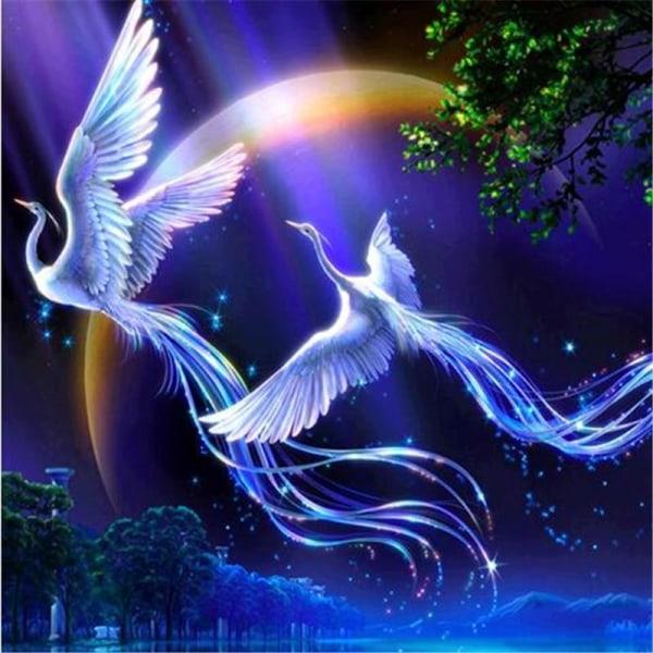 Full 5D DIY Diamond Painting Cross Stitch Phoenix Flies Fly Pict Som på bilden 1
