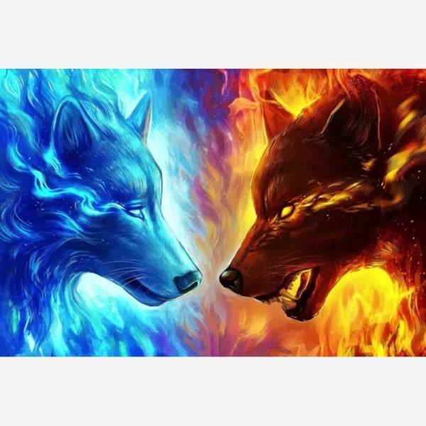 "Full 5D DIY Diamond Painting Cross Stitch ""Red Blue Wolf"" Broder Som på bilden 1"