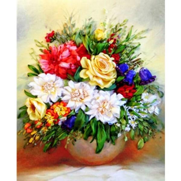 Full 5D DIY Diamond Painting Cross Stitch Rose Vasen Broderi Mos Som på bilden 1