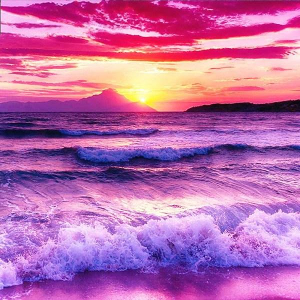 Full 5D DIY Diamond Painting Cross Stitch Sunset Sea View Broder Som på bilden 1