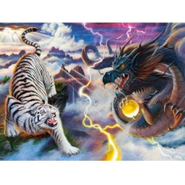 Full 5D DIY Diamond Painting Cross Stitch Tiger och Dragon Embro Som på bilden 1