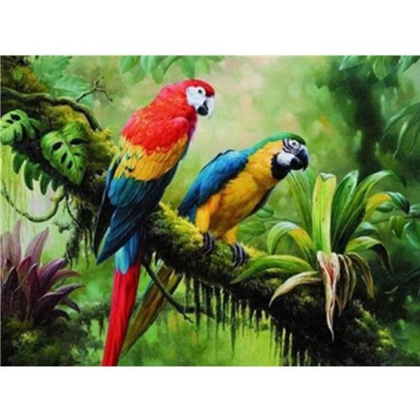 Full 5D DIY Diamond Painting Cross Stitch Två papegojor Broderi  Som på bilden 1