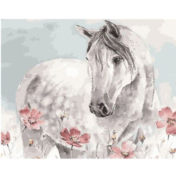 Full 5D DIY Diamond Painting Cross Stitch White Horse Broderi Mo Som på bilden 1
