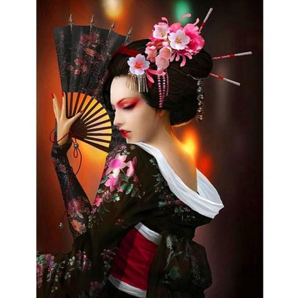 Full 5D DIY Diamond Painting Japansk dansare Full Round Broderi  Som på bilden 1