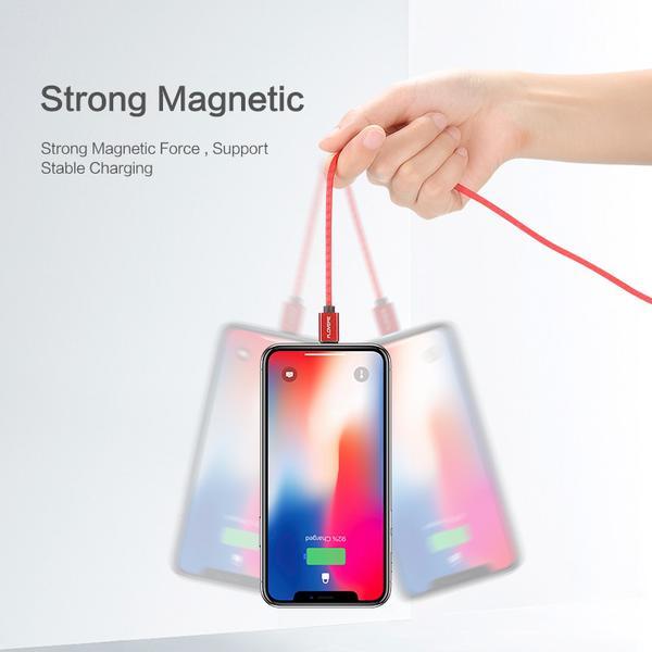 1m FLOVEME 3A Magnetic iphone kabel svart
