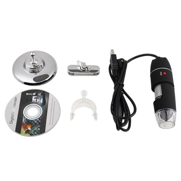 500X förstoring 8-LED USB digital mikroskop  svart
