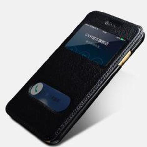iPhone 6 Läderfodral Dubbla Fönster - Svart svart