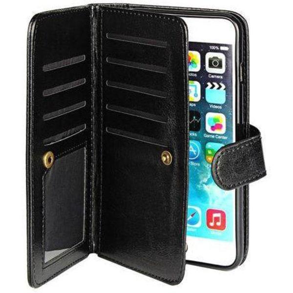iPhone 6 & 6S Multi Plånboksfodral 2 i 1 med 9 fack l SVART svart
