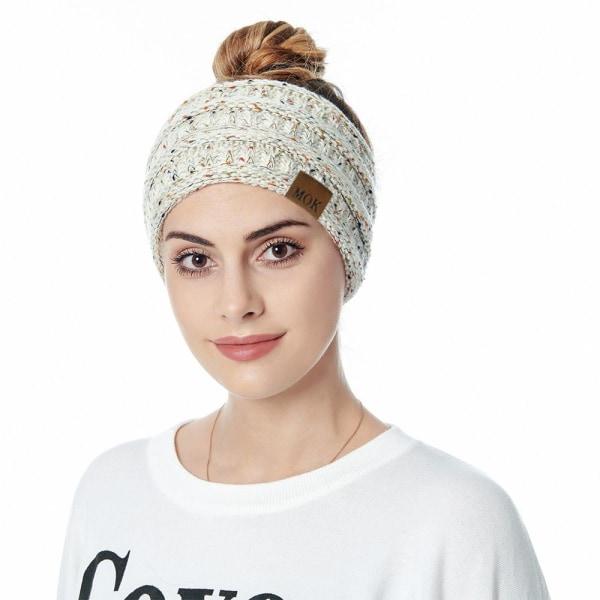 Öronvärmare pannband för kvinnor Stickat hårband Huvudband VIT