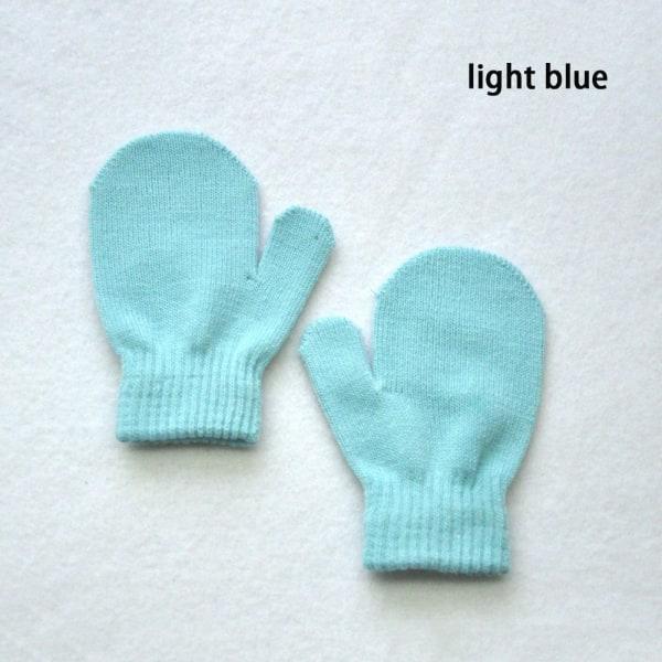 Stickade handskar Full Finger Vantar Vinterhandske LJUSBLÅ
