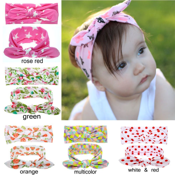Bow Knot Hair Band Floral Headband Baby Turban PINK