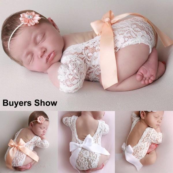 Nyfödd fotografi rekvisita spets Romper body ORANGE