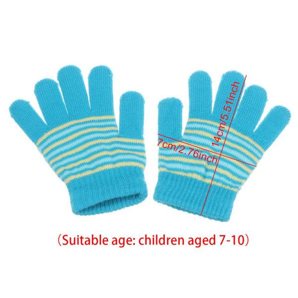Barnhandskar Babyfingerhandskar Tryckt rand BLÅ