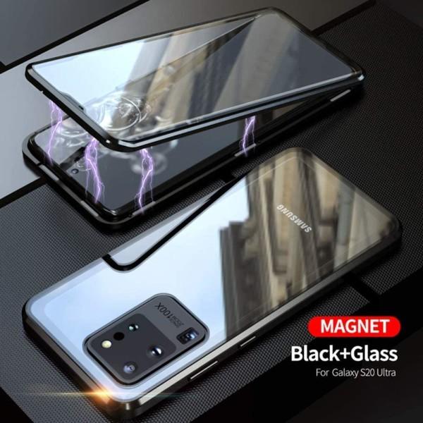 Premium Galaxy S20 Ultra Stötdämpande magnet Skal med glas Svart