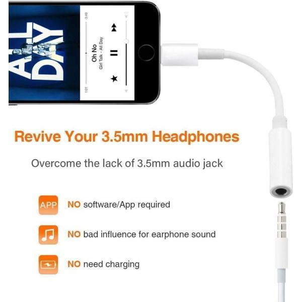 Smidigt & Enkel Lightning till 3,5 mm adapter för hörlurar C4U® Vit