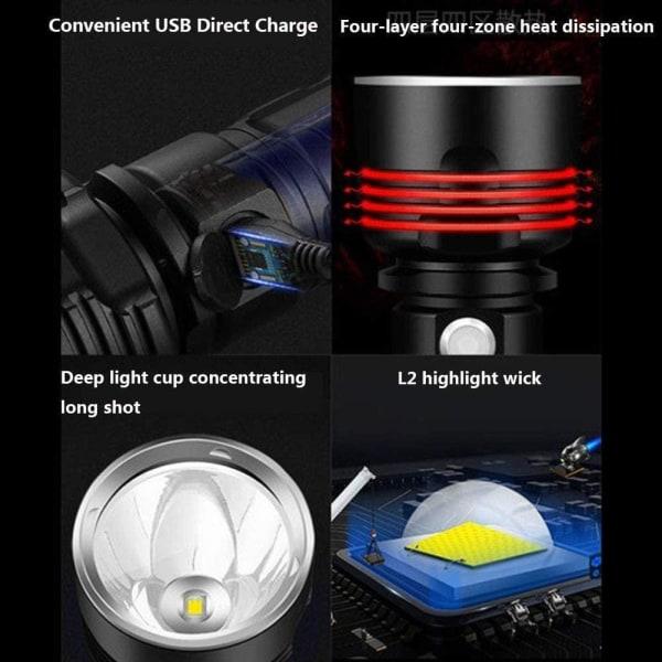 P70 ficklampa 30 000–10 000 lumen högpresterande LED-ficklampa Svart