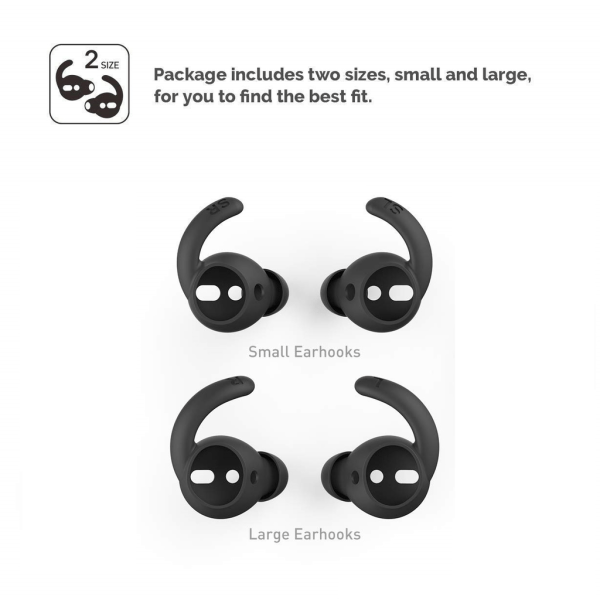 C4U Earhooks In-ear för AirPods Earhooks / Earbuds silikon kit Svart