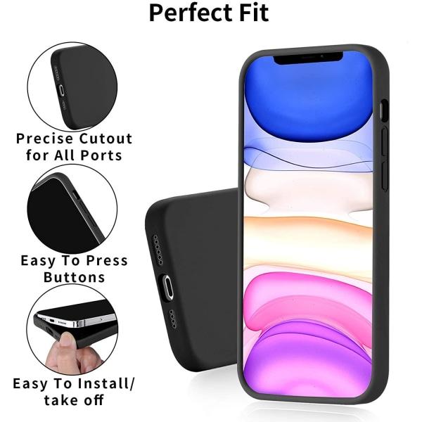 C4U® iPhone 12 Pro Max Matt-Series Liquid Silikon Matt Svart ska Svart
