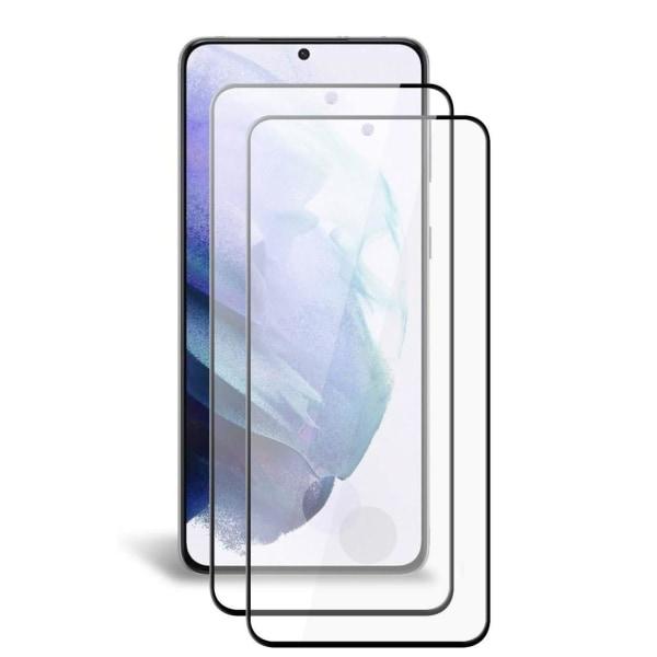 2-Pack C4U® Härdat Glas för Samsung Galaxy S21 Bubbelfritt Härda Black Galaxy S21