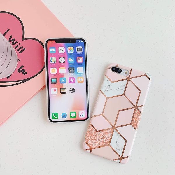 Marmor skal för iPhone 8+ / 7+ - Lyx Glitter / Rosa C4U® Rosa