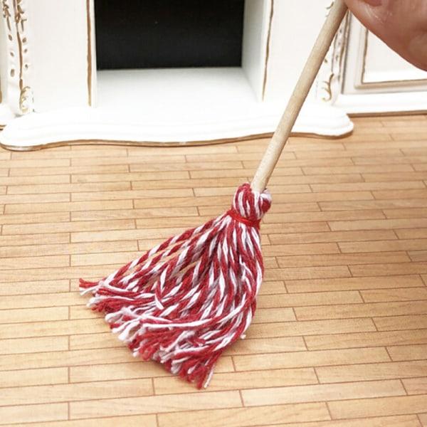 1:12 Dollhouse Miniature Kitchen Garden Mop Låtsas lekmöbler