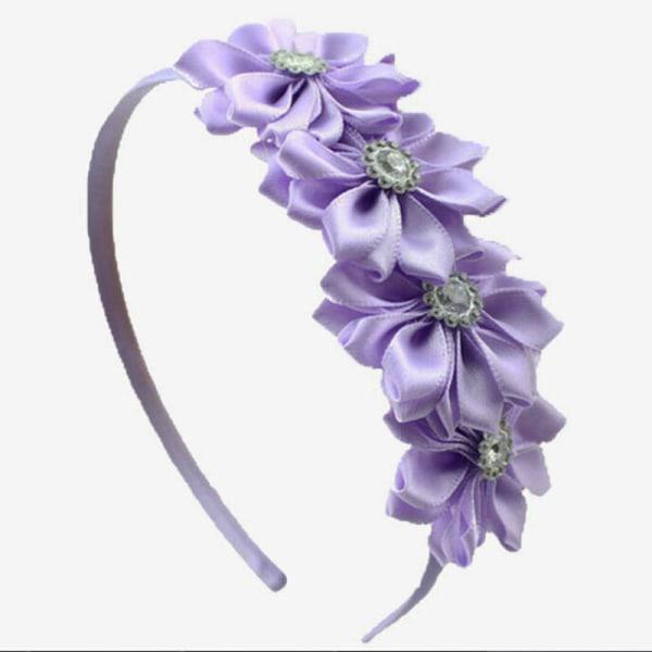 1 st Satinband Flower Rhinestone Hairband för Baby Princess