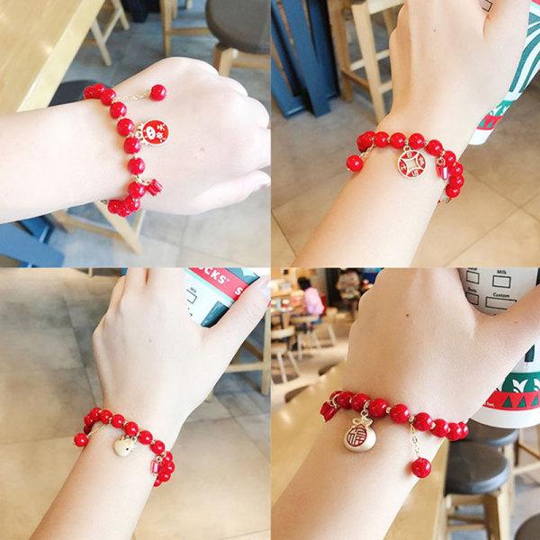1 st röda akrylpärlor charmarmband modehänder smycken cattl A15