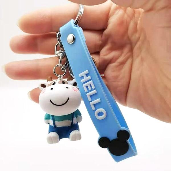 1 st söt ko nyckelring härlig tecknad bil nyckelring flicka väska hängande Blue