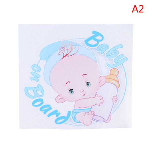 1 st tecknad bil klistermärke härlig baby ombord auto dekor reflecti A2