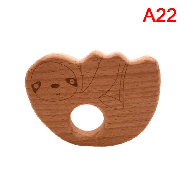 1 st trä er tecknad trä djur baby er leksak graverad A22