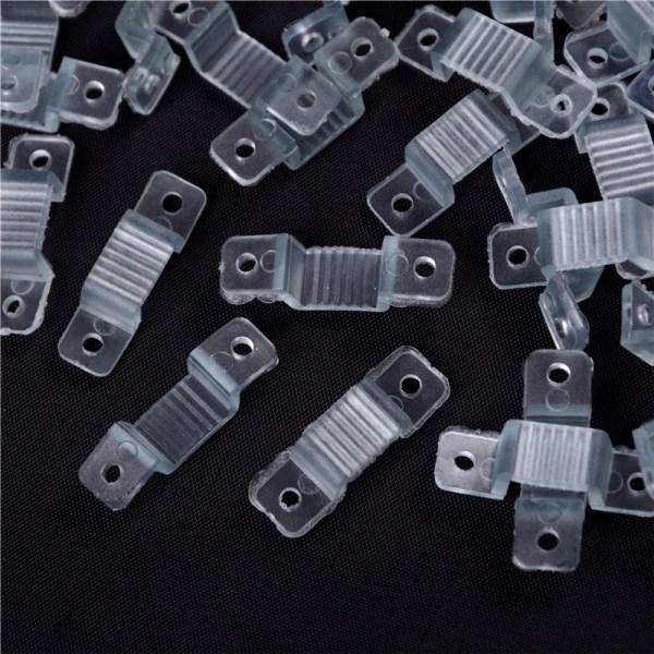 100st 10mm LED-fästande silikonmonteringsklämmor LED Strip Light C